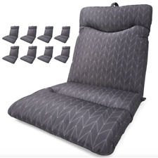 Set of 8 Grey Highback Cushion Outdoor Seat Lounge Patio Chair UV Resistant Pool