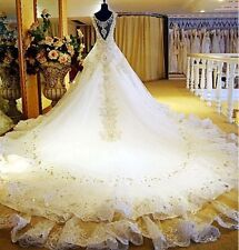 Luxury Royal Wedding Dress For Bridal Gown With Cathedral Train Shining Crystal