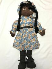 "30"" Black Americana School Girl Rag Doll Ponytails Bangs Blue Dress Hat & Belt"
