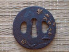 Edo Period Iron Japanese Tsuba Bamboo, plum & shelter design