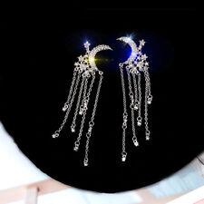Fashion Luxury Crystal Moon Star Drop Earrings Women Wedding Party Jewelry Gifts