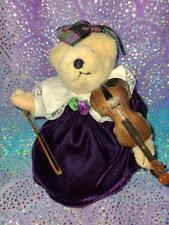 MUFFY VANDERBEAR MUSICAL SOIREE: Purple Velvet Collection with Violin  RARE