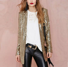 Hot Womens Shinny Jacket Silver Gold Long Sleeve Sequin Bling Suit Blazer Coat