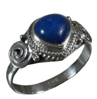 Handmade 925 Solid Sterling Silver Ring Natural Lapis Lazuli US Size 6.5 R-2153