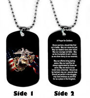 DOG TAG NECKLACE U.S. Marines Prayer for Soldiers #SN1 Medical Jesus God Hero