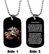 DOG TAG NECKLACE U.S. Marines Prayer for Soldiers Medical Jesus God Hero Warrior