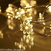 Mains Operated Warm White 30 Flower LED Flowers Fairy String Lights Lamp UK Plug