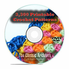 Learn to Crochet, 3300 Printable Crochet Patterns & Guides Books PDF CD DVD E82