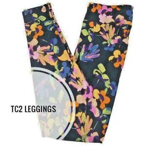 NEW LuLaRoe TC2 Leggings Multicolor Floral on black 18+