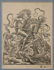 ORIGINAL CONTINENTAL 16thC WOODCUT ENGRAVING, ST GEORGE AND DRAGON, SIGNED