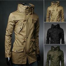 Men's Trench Coat Stand Collar Jacket Slim Cloak Pocket Zip Up Casual Outwear
