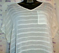 Genuine MAURICES women's M embroidered lace white tee blouse sheer hi lo TOP