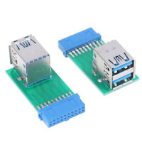 Motherboard 20Pin Header To 2 Ports USB 3.0 Type A Female Port HUB Adapters Pg