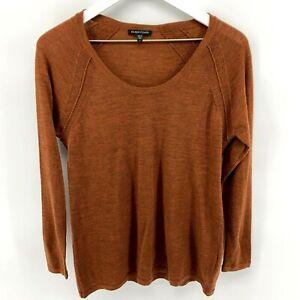 Eileen Fisher Women's S Rust 100% Merino Wool V-neck Long Sleeve Sweater