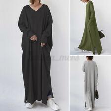 Women's Full Sleeve V Neck Lounge Home Sweatshirt Long Baggy Pullover Dress Maxi