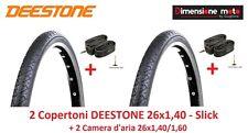 2 Copertoni DEESTONE 26x1,40 D209 Slick + 2 Camere per bici 26 MTB Mountain Bike