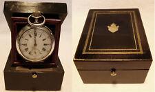 Boîte à montre en bois noirci & montre en ARGENT MASSIF XIXe