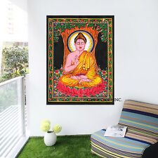 Indian Lord Buddha Tapestry Multicolor Wall Hanging Cotton Poster Home Decor Art