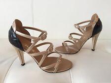 NIB Chanel 17C Beige Black Patent CC Strappy Buckle Sandal Heel Pump 37.5 $1000