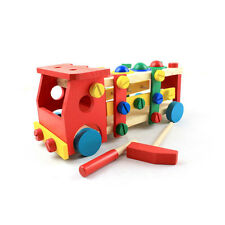 Wooden Toy Disassembly Screw Nut Vehicle Car Knock Ball Kid Educational Toy Gift
