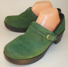 Lands' End Wos Shoes US 9 D Green Suede Buckle Heels Work Clogs St Pat 1104