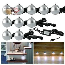 10 Pcs Led Landscape Patio Lighting Low Voltage Deck Light Kit, Cold White Lamp