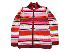 Discontinue Gymboree  Knitted Red Pink Jacket Dotty Hearts Zipper Size 10-12