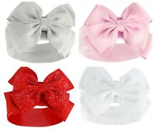 Baby Girls Headband Hair Band With Glitter Bow White Pink Red Grey