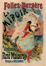 Folies Bergere Le Miroir by Jules Cheret 1894 vintage ad style print