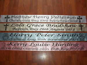 PERSONALISED CHRISTENING, BAPTISM, NAMING DAY, 1ST HOLY COMMUNION DAY BANNER