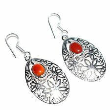925 Sterling Silver Plated Carnelian Gemstone Girls Womens Earrings Jewellery