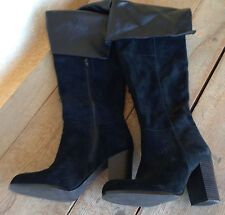 """SE Boutique Over the Knee Black Suede Pirate Boots 8 Womens Zip Inside 3.5"""" Heel"""
