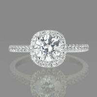 1 1/4 Carat Natural Round Diamond Engagement Ring F/SI2 14K White GOLD Enhanced