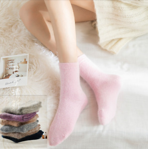 5 Pack Women Wool Angora Crew Socks Solid Casual Boot Fluffy Winter Thick Warm