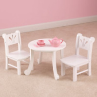 Kids Table and Chairs Play Set Toddler Child White Wood Toy Indoor Outdoor New