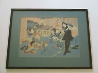 LARGE ANTIQUE JAPANESE WOODBLOCK PRINT TATTOO MAN PORTRAIT  TRADITIONAL RARE OLD
