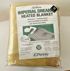NEW VTG Sunbeam Queen Heated Gold Acrylic Blanket Electric Thermo Warming Settin