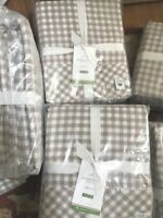 Pottery Barn Gingham Check Sheet Set Khaki King Cottage Chic New