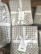 Pottery Barn Gingham Check Sheet Set Khaki Queen Cottage Chic Farmhouse