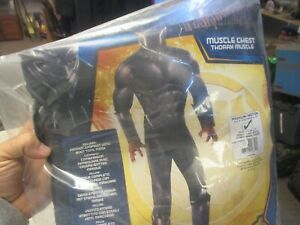 Black Panther Halloween Kids Costume Black/Grey, Size Medium 8-10 Marvel