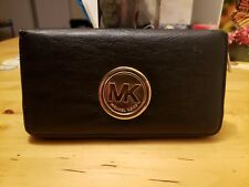 Michael Kors Black Leather MK Gold Logo Fulton Flap Continental Zipper Wallet