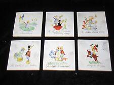 Vtg Hans Christian Andersen Fairy Tale / Nursery Rhyme Tile Coasters-Handpainted