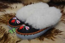 womens ladies natural leather sheepskin slippers moccasins size 3 - 8