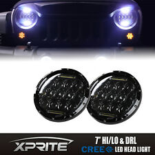 "Round 7"" 75W CREE LED Headlights Daytime DRL Hi/Lo Beam For 97-17 Jeep Wrangler"