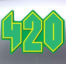 420 Weed leaf plain Green pot Vinyl cut Car Sticker 140x100mm Aussie Made 4 20