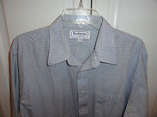 >>EXCELLENT<< MENS BURBERRY'S L/S CASUAL DRESS SHIRT WHITE BLUE GRAY 17 36 XL