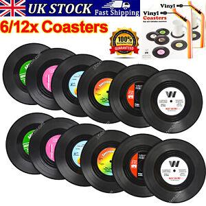 6/12 Vinyl Style Boxed Coasters Place Mats Bar Set Retro Vintage Record Discs UK