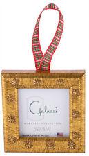 2-Galassi Handmade Italian Wood Ornament Marcelli Gold Daisy Plaid Ribbon USA*