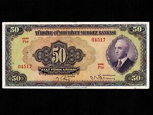 Turkey 50 Lira 1942 P-142a * VF+ * Rare *