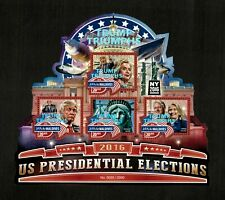 Maldives 2016 US Pres. Election Trump & Hillary - OVPT - Sheet of 4 Stamps - MNH